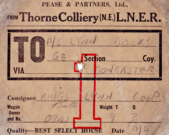 WAGON LABEL - THORNE COLLIERY to KINGS LYNN DOCKS - On April 13th, year unknown unfortunately, Wagon No.0941, probably a private owner wagon, was sne tfron Thorne Colliery to Kings Lynn Docks, via Doncaster, containing 9 tons and 3 cwts of Best Select House coal consigned to Kings Lynn Cooperative Society.