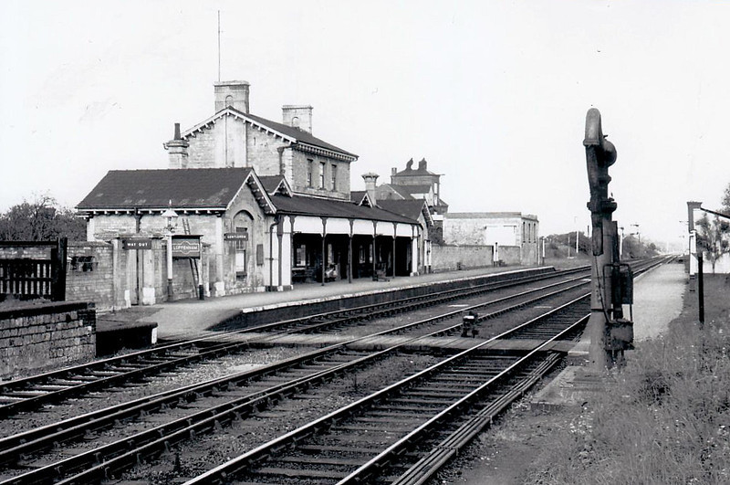 LUFFENHAM - opened in 1848 on the Syston & Peterborough Railway, it was the junction for the old LNWR mainline from Rugby, seen by the signals behind the water crane - it closed in June 1966 with closure of the Seaton Branch.