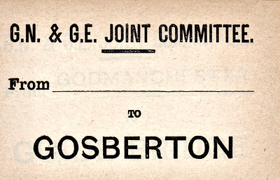 GN/GE JOINT LUGGAGE LABEL - GOSBERTON - This was second station west of Spalding on the line to Sleaford.