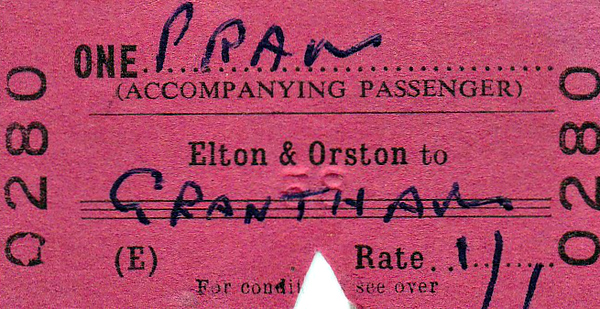 BRITISH RAILWAYS TICKET - ELTON & ORSTON - Pram accompanying a passenger to Grantham - fare 1s 1d - dated March 19th, 1965.