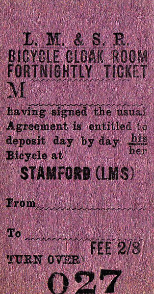 LMST TICKET - STAMFORD - Bicycle Storage Ticket - Valid for a fortnight, fee 2s 8d.