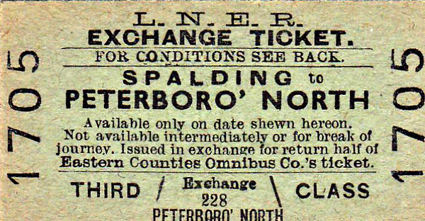 LNER TICKET - SPALDING - Third Class Bus Exchange Single to Peterborough North. Valid on Eastern Counties buses also.