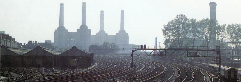 LONDON VICTORIA - a panoramic view of the approaches to Victoria with Battersea Bridge in the background and the EMU sheds to the left - taken in the 1980's.