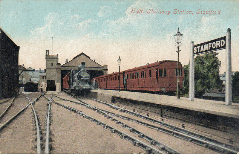STAMFORD EAST - Terminus of the Stamford & Essendine Railway, seen here in GNR days. The train on the left in the two track train shed is for Wansford while that on the right will be for Essendine and Bourne.