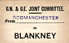 GN/GE JOINT LUGGAGE LABEL - GODMANCHESTER to BLANKNEY - Godmanchester lay on the Kettering - Ely line actually in Huntingdon and Blankney was on the GN/GE line form Spalding to Sleaford. It is still open but is known today as Metheringham.