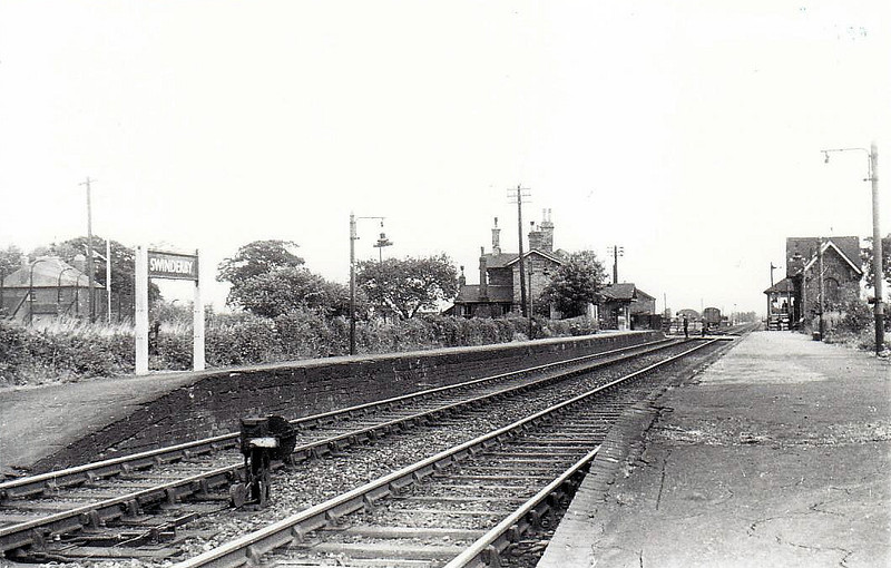 SWINDERBY - on the Lincoln - Nottingham line, opened in 1846 and still open today, including the pretty little building on the near platform, seen here in 1955. It boasts a roughly 2 hourly service.