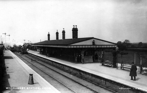 WILLOUGHBY JUNCTION - Opened in September 1848 by the East Lincolnshire Railway, the original station closed in 1886 and this one was built 120 metres further north when the station became a junction for the line to Sutton-On-Sea and Mablethorpe, trains for which used the platform on the far right. The station closed to goods in May 1966 and to passengers in October 1970.