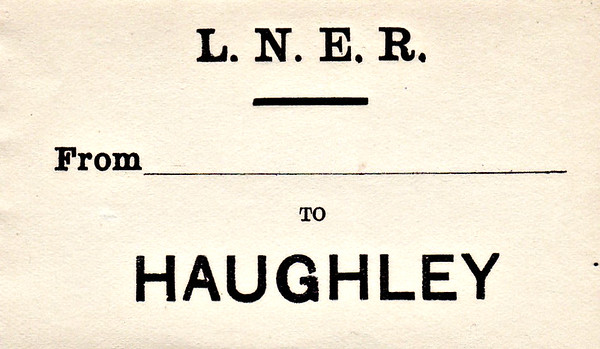 LNER LUGGAGE LABEL - HAUGHLEY. On the Ipswich - Norwich main line, junction for Ely and the MSLR.