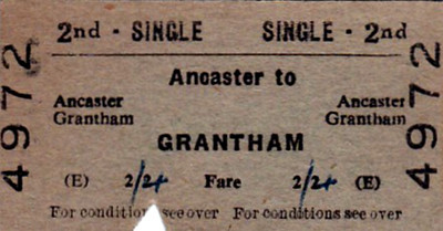 BRITISH RAILWAYS TICKET - ANCASTER - Second Class Single to Grantham, fare 2s 4d - dated January 15, 1962 - note that the fare has been increased by 2d by hand, probably went up on January 1st.