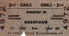 BR TICKET - ANCASTER - Second Class Single to Grantham, fare 2s 4d - dated January 15, 1962 - note that the fare has been increased by 2d by hand, probably went up on January 1st.
