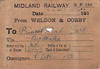 MIDLAND RAILWAY WAGON LABEL - WELDON & CORBY to BORDESLEY - On September 22nd, 1916, MR wagon no.5049 was dispatched from Weldon & Corby to Princes End Sidings on the GWR consigned to C Lathe & Co. On the reverse side, it says 'Withymoor Goods 4.55/5.00'. Withymoor is a village near Dudley.