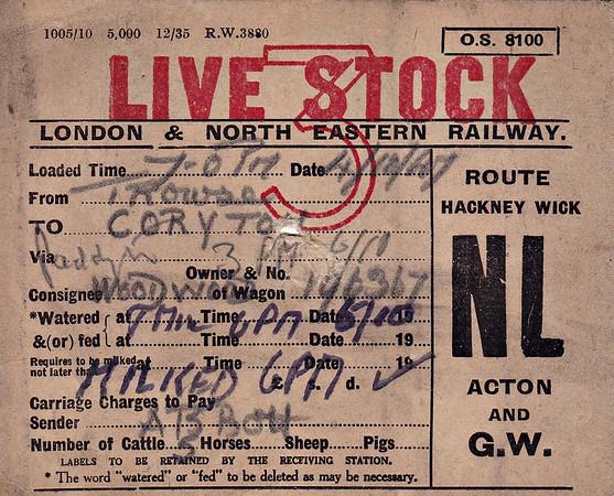LNER WAGON LABEL - TROWSE to CORYTON - On October 4TH, 1947, Wagon No.196367 was despatched from Trowse, near Norwich, to Coryton in Wales by Mr AB Bott with 5 cattle aboard consigned to a Mr. Woodwood Note the milking dates and times. The route was via Hackney Wick, Acton and the GWR mainline.