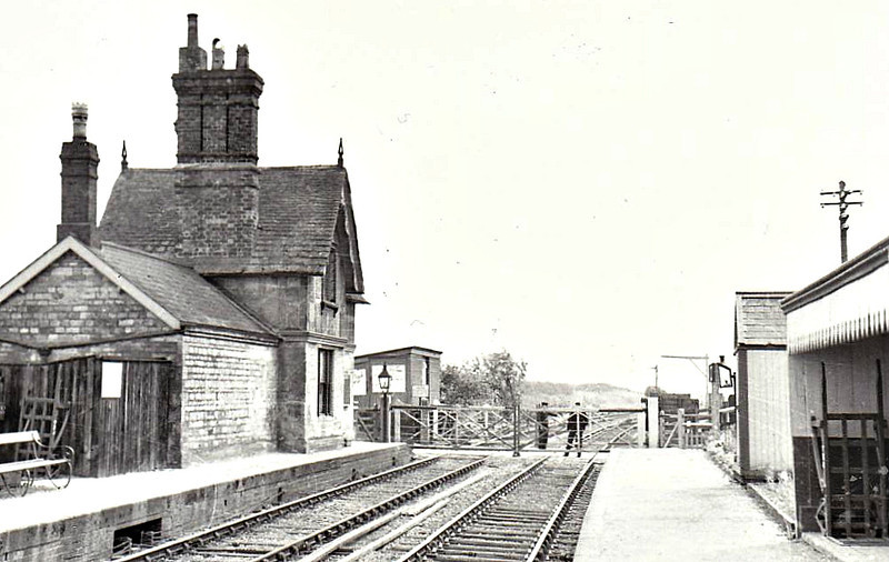 ELTON - Situated on the Peterborough East - Northampton line, first station beyond the Junction at Yarwell, opened in January 1847. Seen here looking towards Oundle, the station is a good distance from the village. It closed in December 1953 and was subsequently demolished, althought the site is clearly visible from the road in the picture. The Nene Valley Railway has ambitions to extend as far as this and beyond towards Oundle.