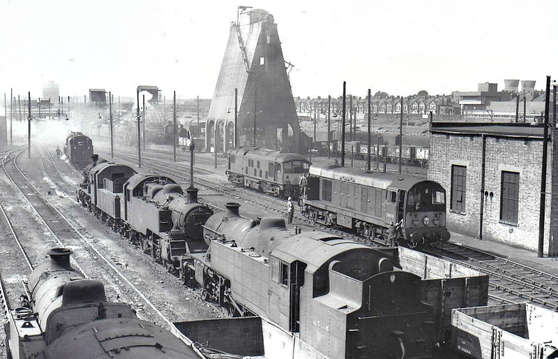 WILLESDEN MOTIVE POWER DEPOT (1A) - seen here in August 1965. The steam locomotives in the foreground are all almost certainly withdrawn although there still seem to several in steam in the background. The Class 20 and Class 24 point the way forward.