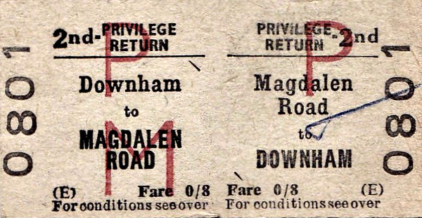 BRITISH RAILWAYS TICKET - MAGDALEN ROAD - Second Class Privilege REturn to Downham, fare 8d - dated January 14th, 1967. Interestingly, both of these stations are still open but not under these names. Downham was renamed Downham Market in June 1981 and Magdalen Road, closed in September 1968 and reopened in May 1975, was renamed Watlington in October 1989.