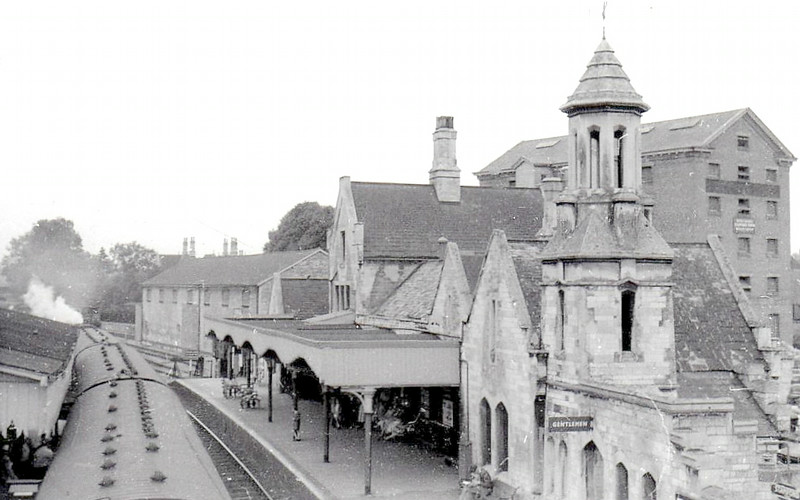 STAMFORD - lying on the line from Peterborough to Manton Junction in Lincolnshire, this must be one of the prettiest stations in the country, still largely unchanged from this 1956 view with a Peterborough - Leicester train in Platform 2. Robert Humm's bookshop is located here.