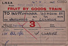 WAGON LABEL - FRUIT BY GOODS TRAIN - MIDDLE DROVE to NOTTINGHAM - A consignment of 158 baskets/bushels (?) of apples form Middle Drove to the large goods depot at Nottingham London Road via Whitemoor and Colwick, Speed 3 (fast goods), dated August 14th, 1955, recorded as arriving the following day. Note that this is an LNER ticket - news of nationalisation had probably just about reached Middle Drove by then!