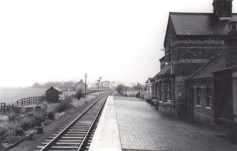 SALTFLEETBY - Second station from Louth on the Mablethorpe Loop, looking east in about 1960. Opened in 1877, it closed completely in 1960 with the rest of the Mablethorpe Loop. Services were always sparse, about 4 trains each way per day.