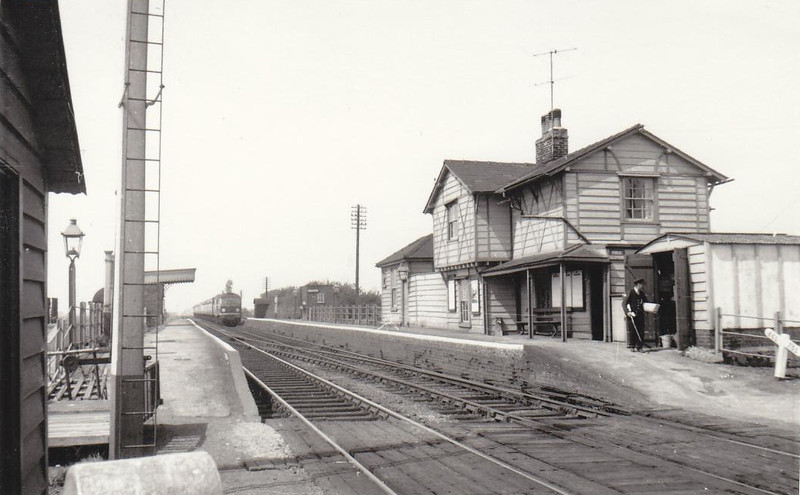 MANEA - Pronounced May-nee, between March and Ely, seen in about 1960. Amazingly, the station is still open, with a service of two trains each way per day but, unusually, it is a National Express East Anglia Station served only by Cross Country trains. None of what can be seen here remains today except for the platforms. Amazingly, since I wrote this, Abellio Ipswich - Peterborough services now stop at Manea every 2  hours in each direction, the service being quite well used.