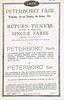 LNER HANDBILL - PETERBOROUGH FAIR, October 1925 (1) - Advertising return fares at single prices for the two-day Peterborough Fair by any train arriving at Peterborough before 6.30pm from a whole raft of local stations.