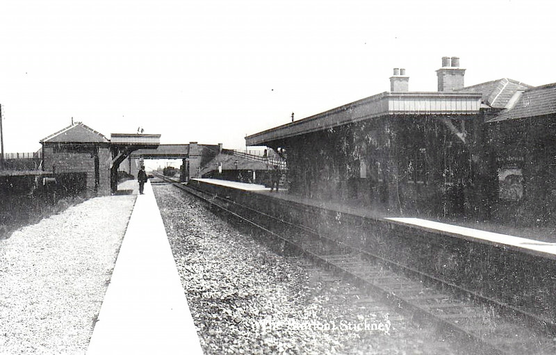 STICKNEY STATION - opened in 1911 on the Woodhall Junction - Lttle Steeping line, closing for goods traffic in March 1964. The station closed completely when the whole line closed in October 1970. Seen here shortly after opening, before laying of the second track.