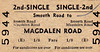 BRITISH RAILWAYS TICKET - SMEETH ROAD - Second Class Single to Magdalen Road, fare 1s 8d - dated December 1st, 1966. Smmeth Road served the very large village of Marshland St James. Magdalen Road served the village of Watlington and remains open under that name. This line only had a few months of life left at this date.