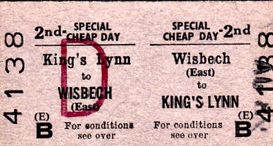 BRITISH RAILWAYS TICKET - WISBECH EAST - Second Class Special Cheap Day Return to Kings Lynn - dated January 28th, 1967. The service was withdrawn the following September.