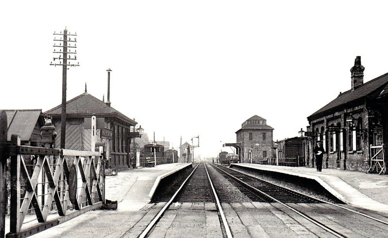 ASLOCKTON - on the Grantham - Nottingham line, the station opened in 1850 - seen here in July 1951 - the platform shelter is still in use.