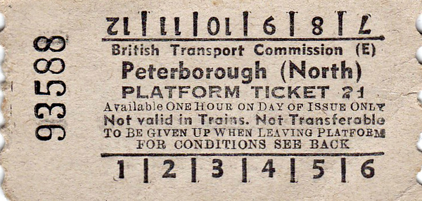 BRITISH RAILWAYS TICKET - PETERBOROUGH NORTH - Platform Ticket, price 2d.