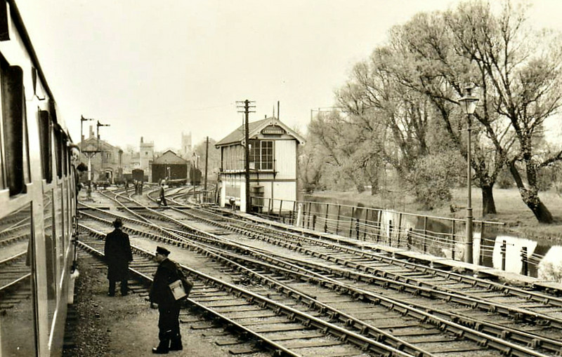 STAMFORD EAST - Terminus of the Stamford & Essendine Railway, seen here just before closure in 04/57, after which point services were switched to the adjacent Stamford Town until the line closed in 1959. The two track train shed is visible just left of the signalbox and part of the rather palatial station building behind that.
