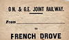 GN/GE JOINT LUGGAGE LABEL - FRENCH DROVE - A typically isolated GN/GE line station between March and Spalding.