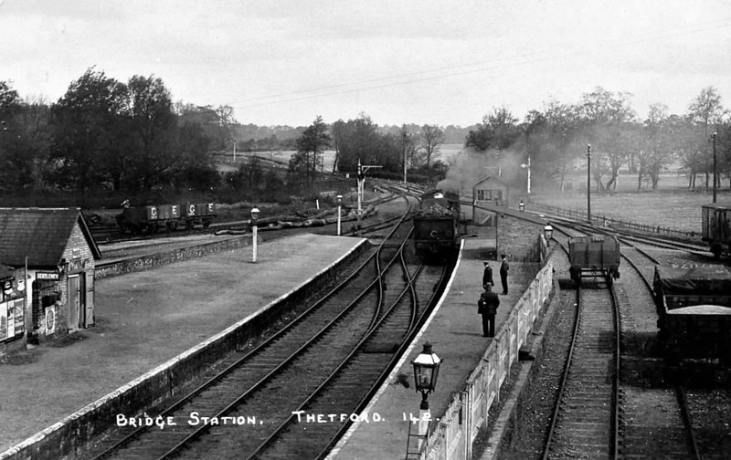 THETFORD BRIDGE - This was the first stop out of Thetford on the line to Bury St Edmunds, opened in 1876. As can be seen from the picture, traffic was never heavy and the station closed to passenger traffic in June 1953 and freight in June 1960. Thereafter, the buildings became a youth hostel.