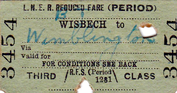 LNER TICKET - WISBECH (EAST) - Third Reduced Fare to Wimblington - dated September 4th, 1940. Although only a journey of about 12 miles, this would have required a change at March.