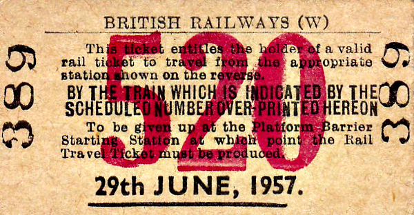 BRITISH RAILWAYS TICKET - PAIGNTON (1) - This is not a ticket to travel but guarantees the holder a place on train no.520, in this case the 1145 from Paignton, presumably to Paddington, on production of a valid travel ticket on June 29th 1957