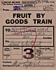 WAGON LABEL - FRUIT BY GOODS TRAIN - UPWELL TRAM DEPOT to NOTTINGHAM - A consignment of fruit, probably strawberries given that it is August and they've come from Outwell, to the big goods depot at Nottingham London Road, dated August 6th, 1954. Outwell Basin Depot on the Tramway was probably unstaffed by then so the tickets were produced by Wisbech East once the rain had arrived there. The wagon number, partially chopped off, is 285369.