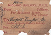 MIDLAND RAILWAY WAGON LABEL - LAMPORT - On October 13th, 1911, a wagon loaded with Deep Hards for locomotive use was dispatched from an unknown colliery via Rugby and the LNWR to Draughton Sidings, Lamport, on the line from Northampton to Market Harborough.