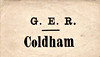 GER LUGGAGE/PARCEL LABEL - COLDHAM - The only intermediate station between March and Wisbech on the line to Kings Lynn.