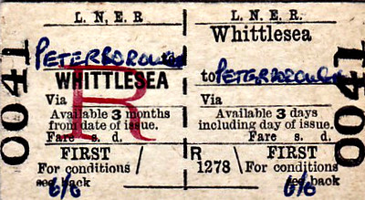 LNER TICKET - WHITTLESEA - First Class Return to Peterborough, fare 6s 0d - nothing very remarkable there, you may think, but the date of issue is June 22, 1967, only 19 years after the LNER ceased to exist! I know things change but slowly in the Fens but bloody hell!