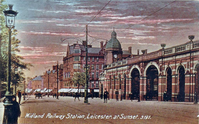 MIDLAND RAILWAY - LEICESTER MIDLAND - rebuilt in this form in 1894, it became Leicester London Road in 1923 and just Leicester in 1969 with the closing of the last of the alternative stations. It exists in pretty much this form today.