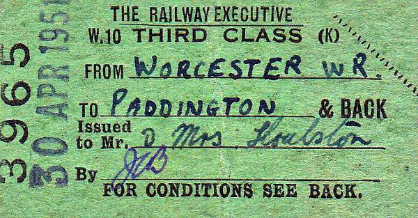 BRITISH RAILWAYS TICKET - WORCESTER - Third Class Return Staff Pass to Paddington, issued to Mr & Mrs Houlston on April 30th, 1951.