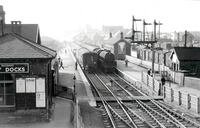 GRIMSBY DOCKS - on the line from Grimsby Town to Cleethorpes, this once important station is now jut a single platform with plain track. Evidently served by trains of some importance in the early 1960's, it now only plays host to the Barton-on-Humber - Cleethorpes service.