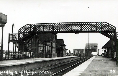 KEADBY & ALTHORPE - Opened in October 1866 by the Great Central Railway, this was the first station west of Scunthorpe on the line to Sheffield. It sits right on the west bank of the River Trent, adjacent to the King George V Bridge, a combined road/rail bridge, which was lifting bridge until the late 1950's. It remains open, if much rationalised, and handles about 10,000 passengers per year.