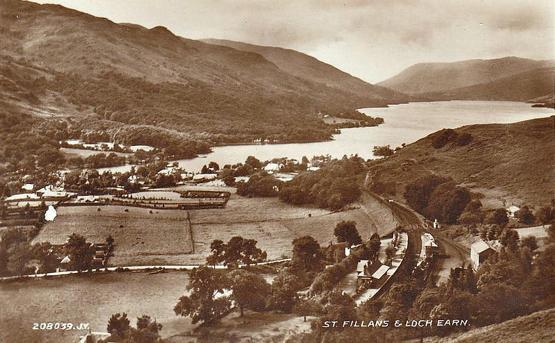 ST FILLANS - an intermediate station on the Lochearnhead, St Fillans & Comrie Railway, opened in 1905 to connect various other lines in the area. The company failed and was taken over by the Caledonian Railway before the line was completed. The line was never profitable and closed completely in 1951.