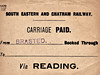 SECR LUGGAGE/PARCEL LABEL - BRASTED - Label for items travelling onto the GWR at Reading.
