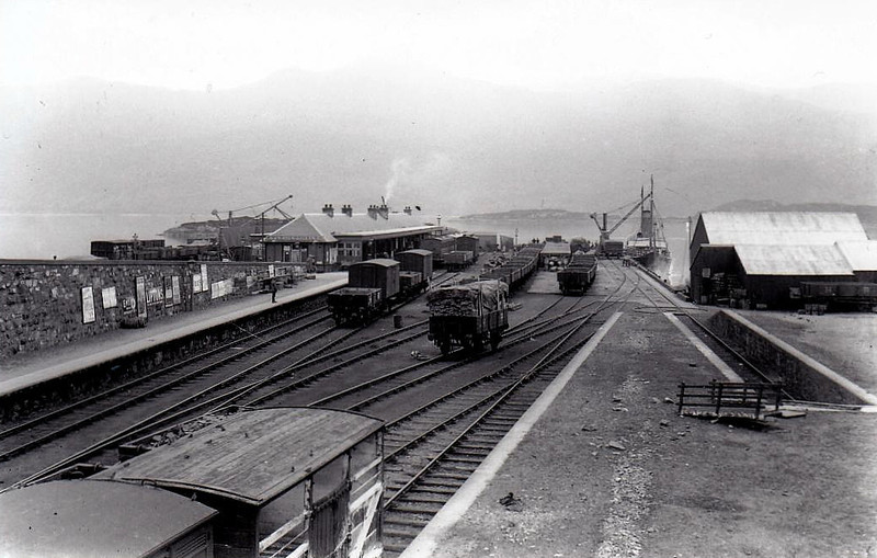 KYLE OF LOCHALSH - opened in 1897 adjacent to the Skye steamer wharf, rendered redundant when the bridge was opened. Despite severe track rationalisation, the station itself looks little different today - seen here in July 1913.