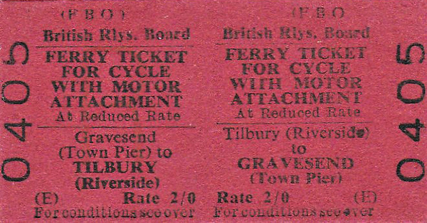 BRITISH RAILWAYS TICKET - TILBURY (Riverside) - Motorcycle Return Ferry Ticket to Gravesend (Town Pier), fare 2s 0d. Use of this very would have avoided a very long diversion at that time.