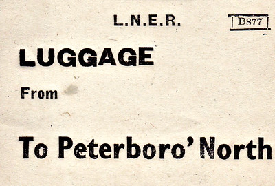 LNER LUGGAGE LABEL - PETERBOROUGH NORTH.