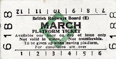 BRITISH RAILWAYS TICKET - MARCH - Platform Ticket.