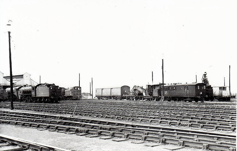 MARCH MPD - a shot across the Shed Yard showing the breakdown crane, a Class 03 shunter and a Class B1 4-6-0 in May 1960.