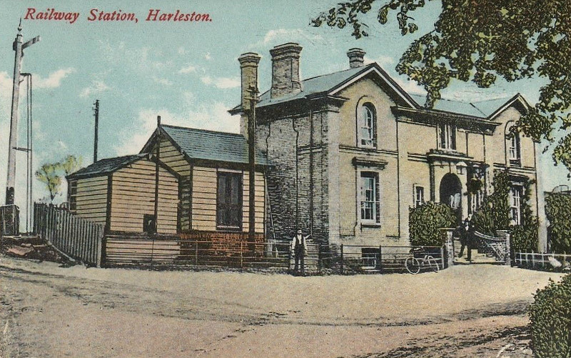 HARLESTON - Opened in December 1855, Harleston was one of many stations on the short Waveney Valley Line between Tivetshall and Beccles in Suffolk. Traffic was never heavy: indeed, two of the stations on the line were closed as long ago as 1866! Passenger services were withdrawn in January 1953 and the line was bisected into Tivetshall - Harleston and Beccles - Bungay sections for freight traffic, this ceasing in April 1966. The station building still exists as private residence.